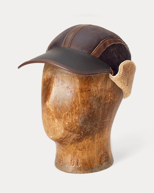 Shearling & Leather Earflap Cap