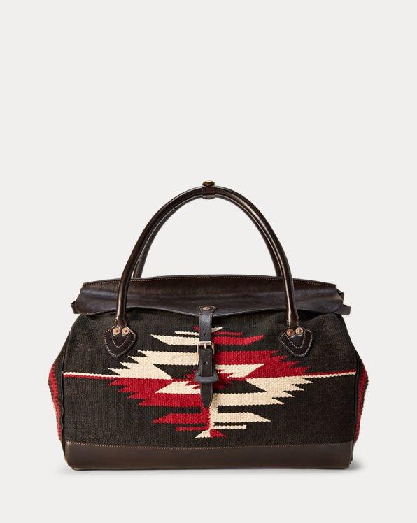 Handwoven Jacquard & Leather Bag