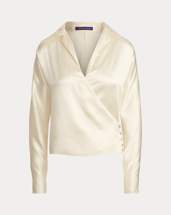 Libby Silk Satin Wrap Blouse
