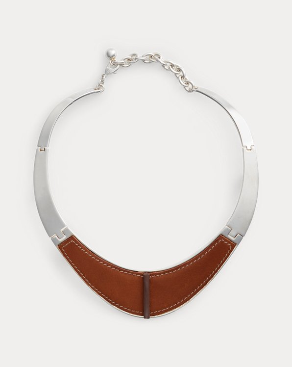 Inlaid-Leather Collar Necklace