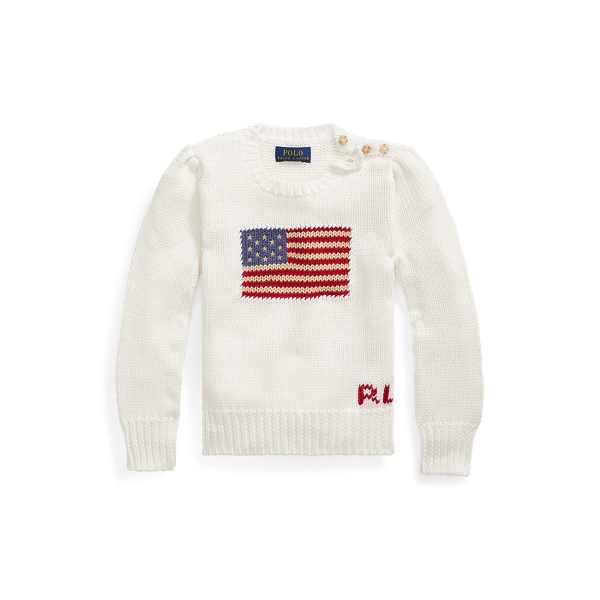 폴로 랄프로렌 여아용 스웨터 Polo Ralph Lauren Flag Cotton Crewneck Sweater,Nevis
