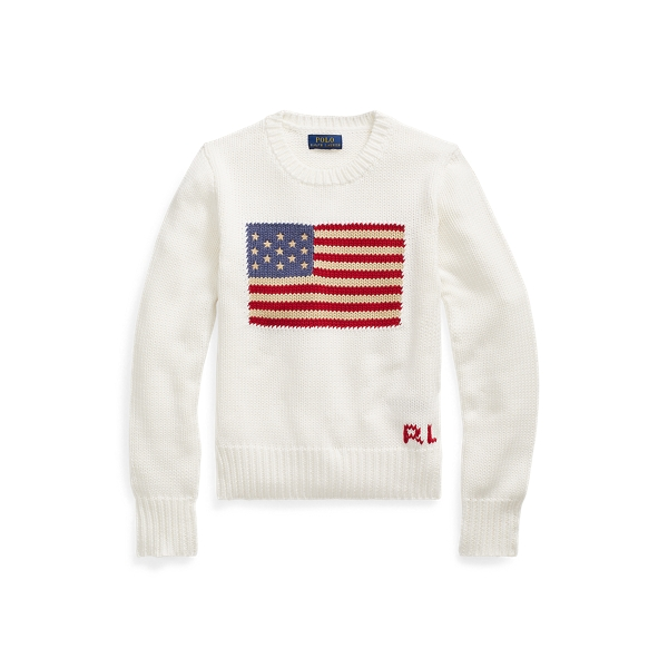 폴로 랄프로렌 Polo Ralph Lauren Flag Cotton Crewneck Sweater,Nevis