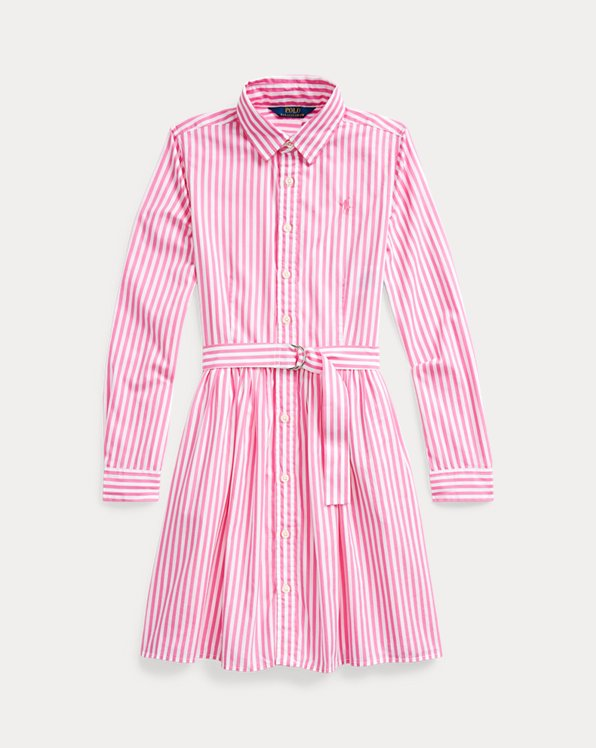 폴로 랄프로렌 Polo Ralph Lauren Striped Cotton Shirtdress,Pink Multi