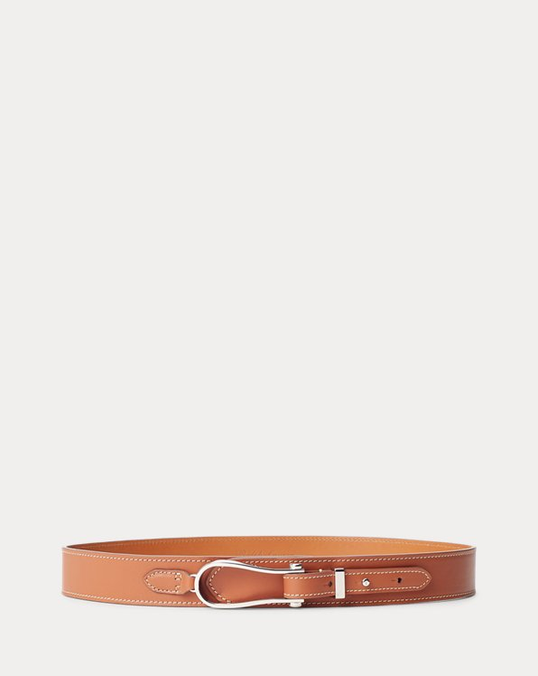 Stirrup-Buckle Calfskin Belt