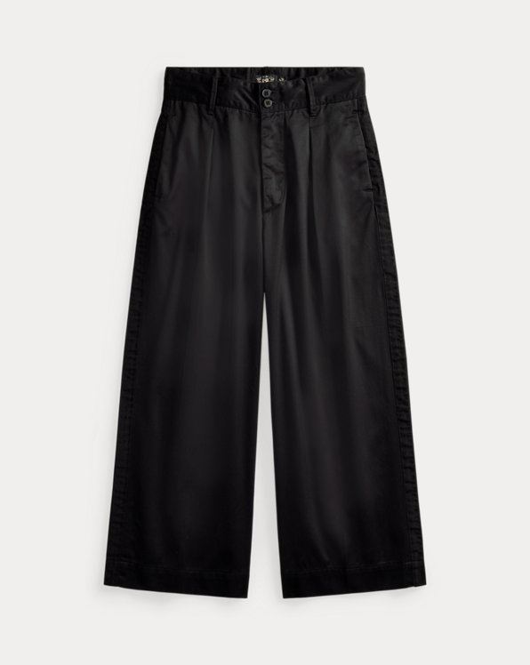 Cropped Cotton Sateen Wide-Leg Pant