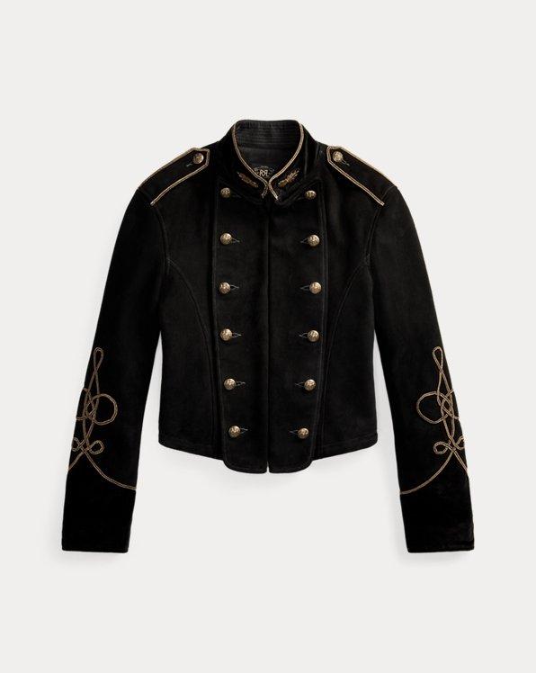 Soutache-Trim Cropped Suede Jacket