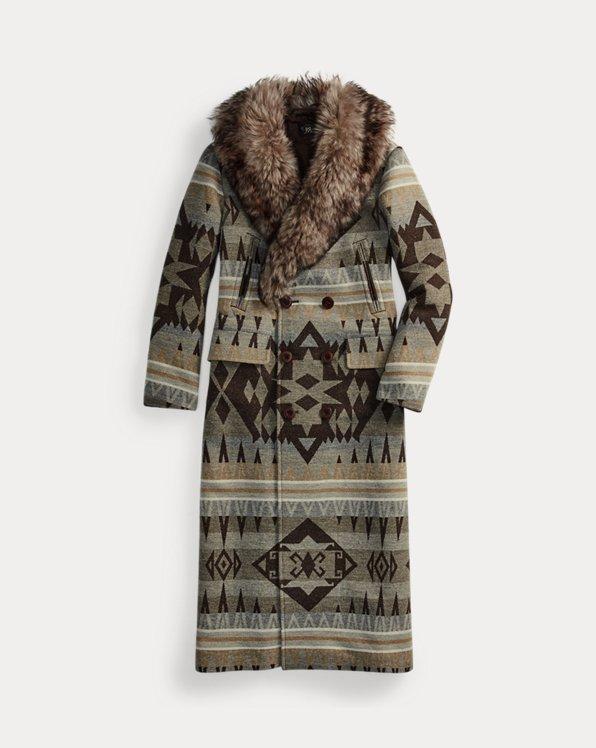 Shearling-Collar Jacquard Coat