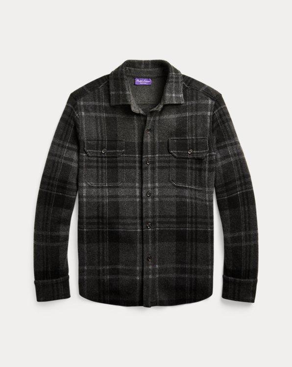 Giacca camicia scozzese in cashmere