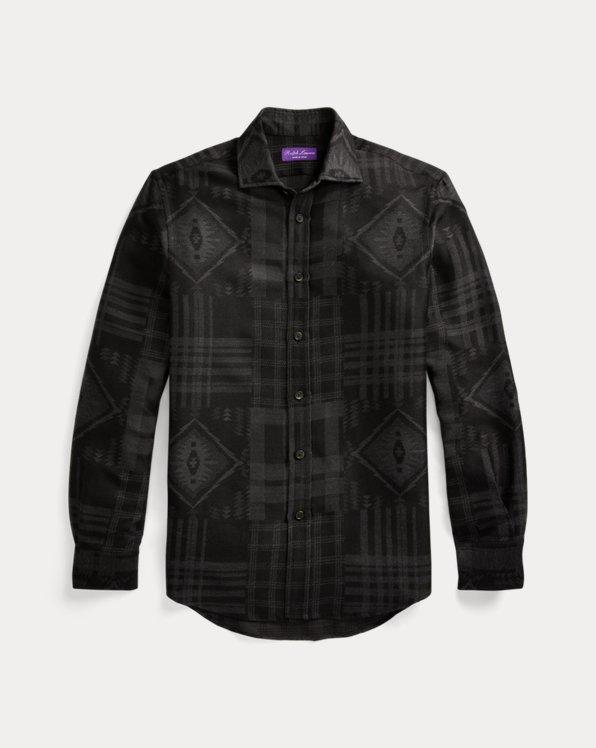Suede-Patch Jacquard Shirt