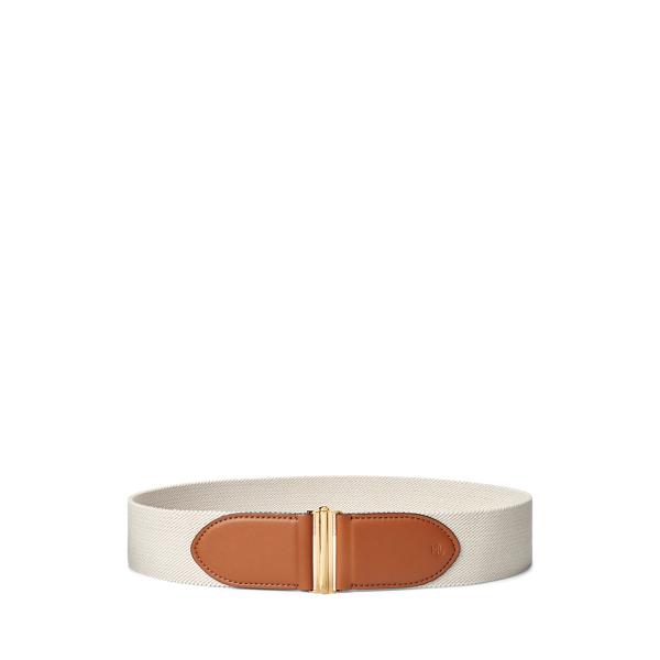 폴로 랄프로렌 Polo Ralph Lauren Woven Stretch Belt,Natural/Lauren Tan