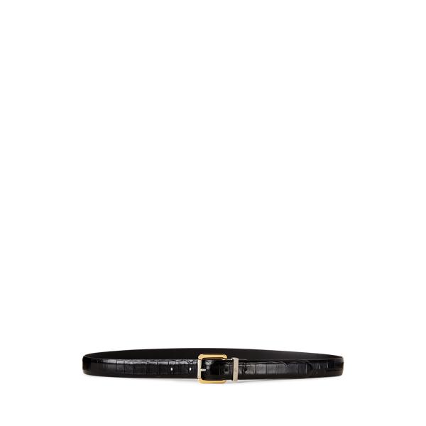 폴로 랄프로렌 Polo Ralph Lauren Reversible Leather Belt,Black/Black