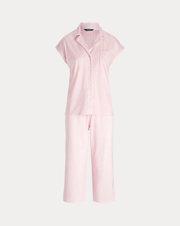 Striped Cotton Capri Sleep Set