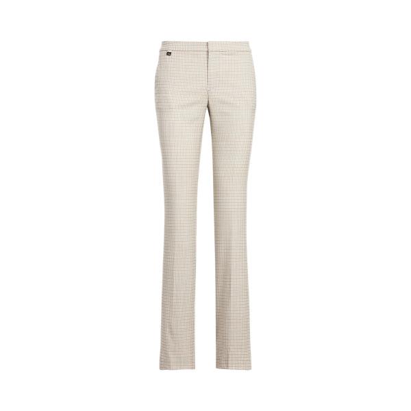로렌 랄프로렌 팬츠 Polo Ralph Lauren Checked Stretch Wool Straight-Leg Pant,Truffle Multi