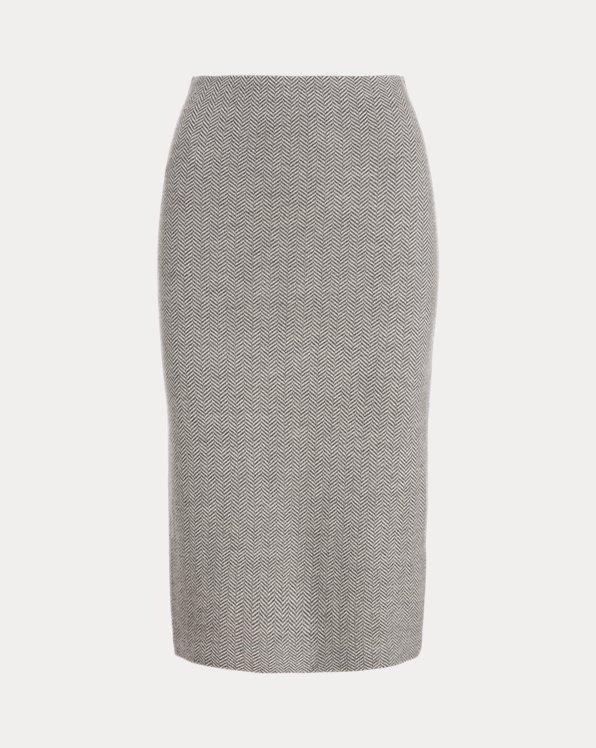 Herringbone Wool Pencil Skirt