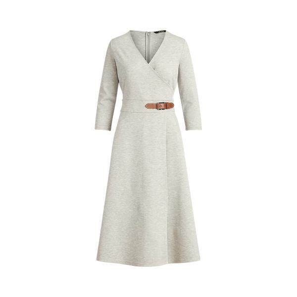 Lauren Buckled Ponte Dress,Pearl Grey Heather