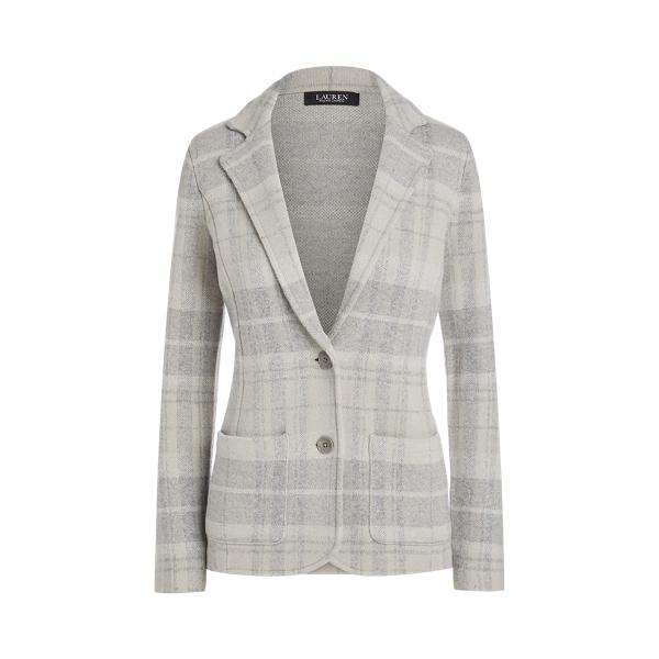 로렌 랄프로렌 블레이저 Polo Ralph Lauren Plaid Wool-Blend Blazer,Grey Multi