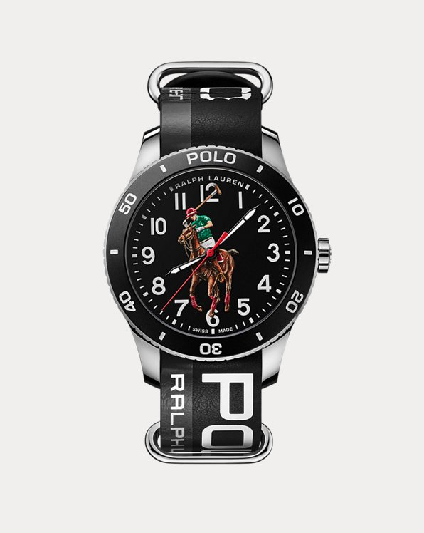 Polo Player Watch Black Dial Steel