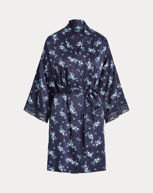 Floral Lace-Trim Robe