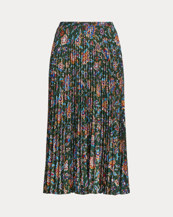 Print Pleated Georgette Skirt
