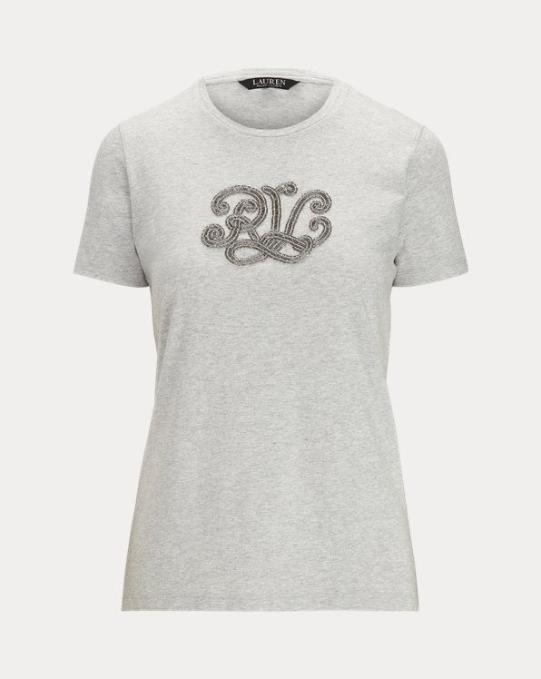 Beaded-Logo Cotton-Modal T-shirt