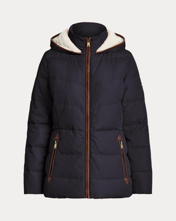 Faux Leather-Trim Down Coat