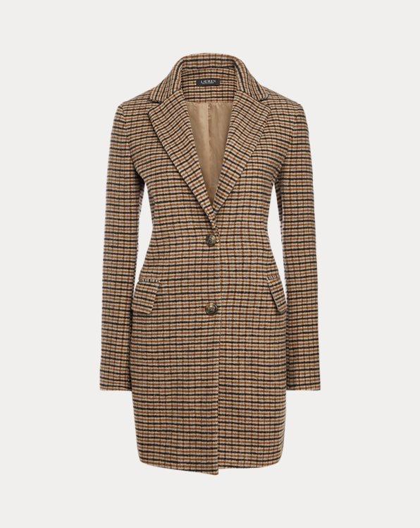 Grid-Houndstooth Wool Coat