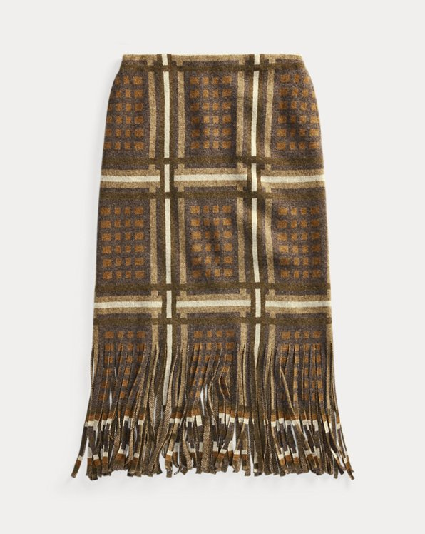 Fringe Graphic Wool-Cashmere Skirt