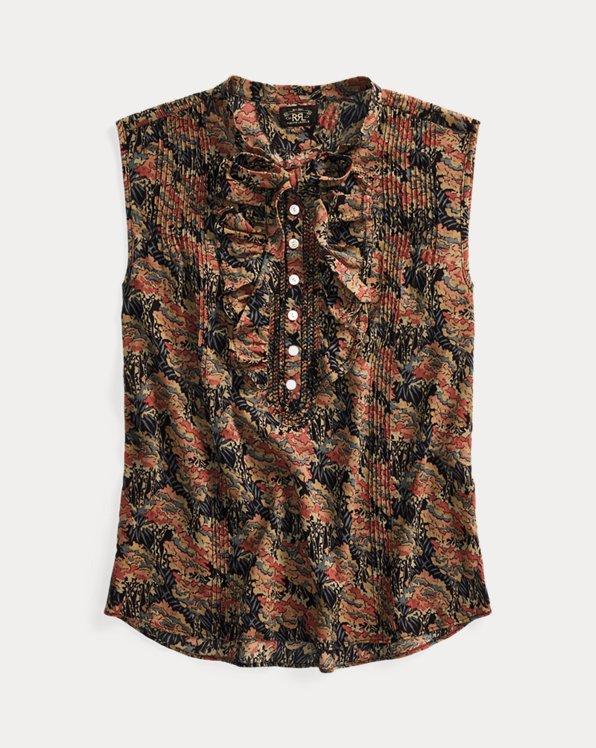 Floral Cotton Tie-Neck Blouse