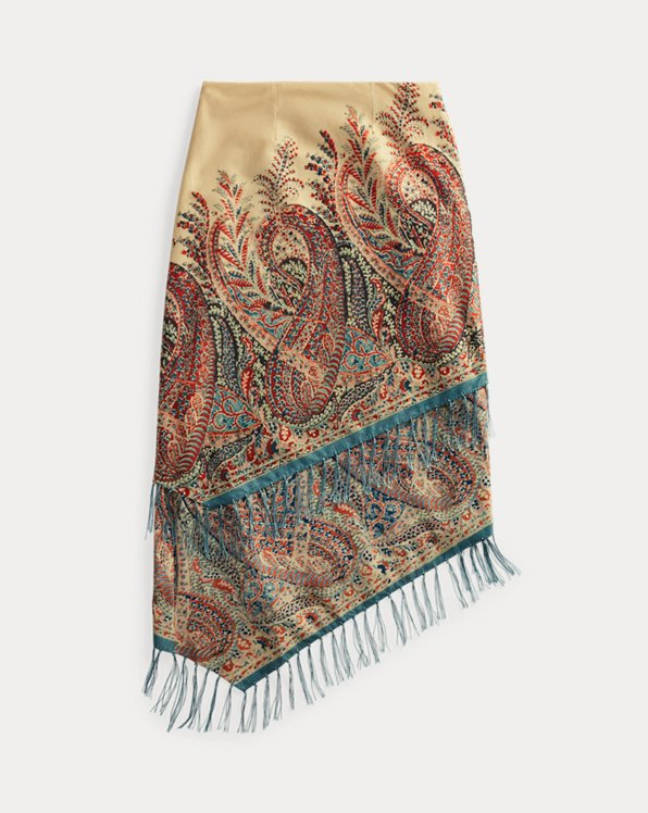 Tiered Fringe Paisley-Print Skirt