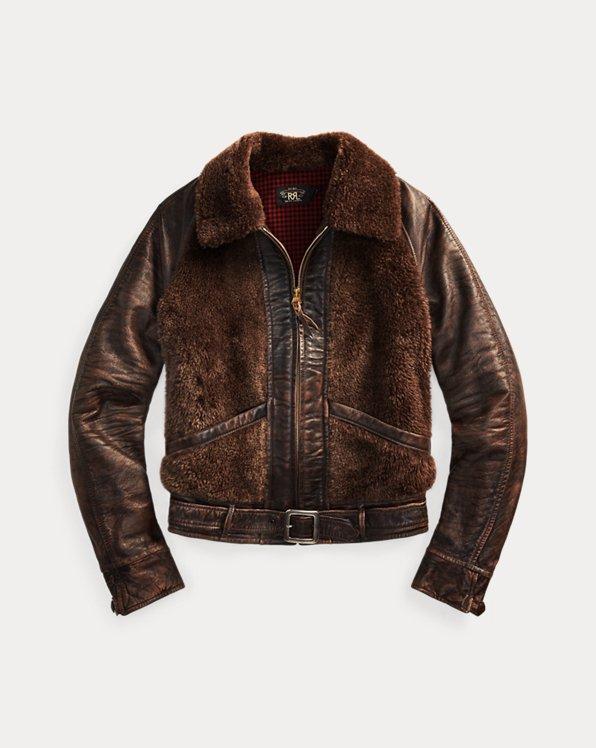 Shearling-Paneled Leather Jacket