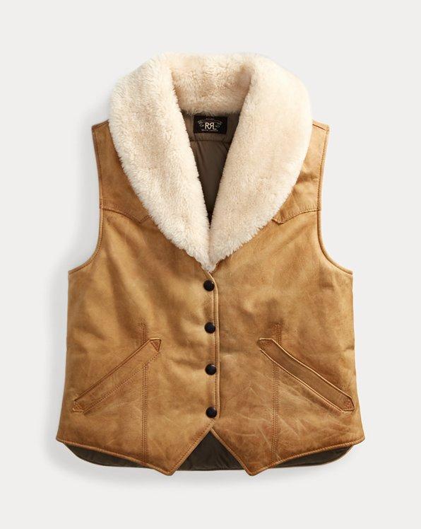 Shearling-Collar Suede Vest