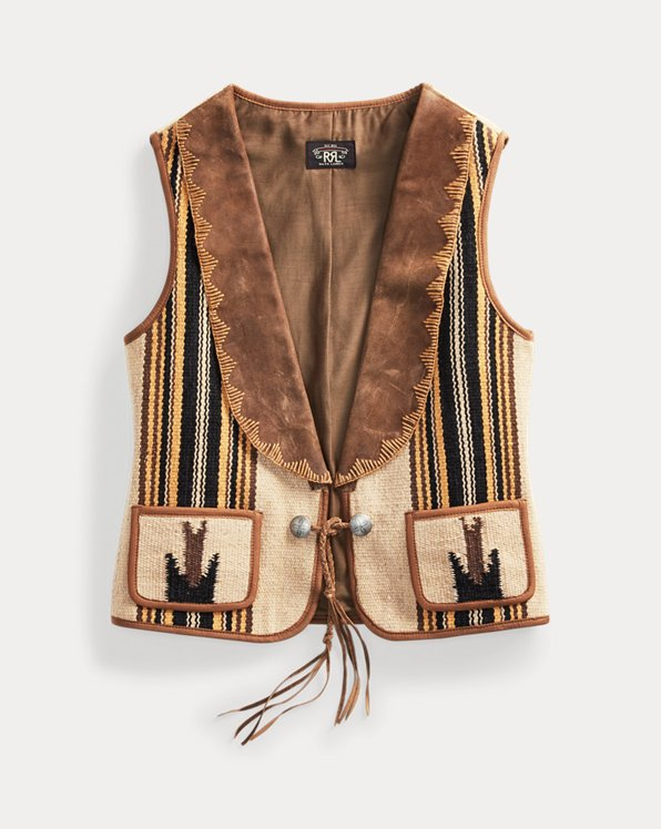 Hand-Woven Leather-Collar Vest