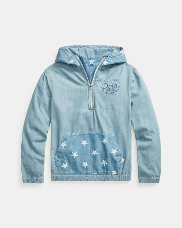 Sweat à capuche étoilé en denim