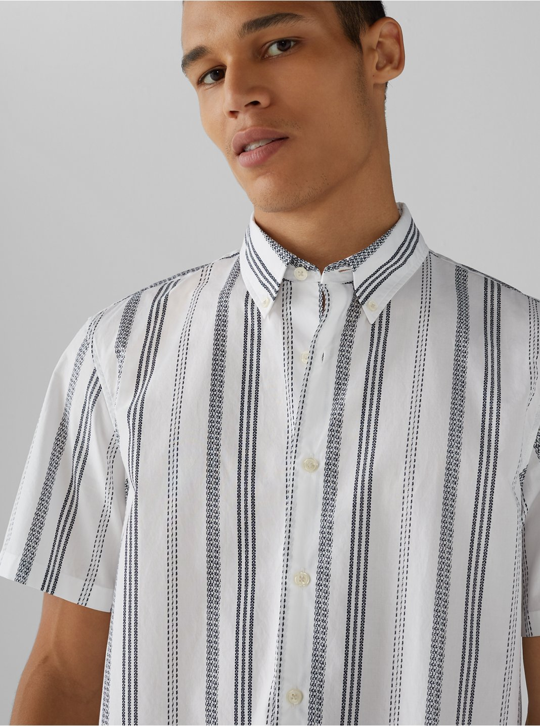 Short Sleeve Loom Striped Shirt