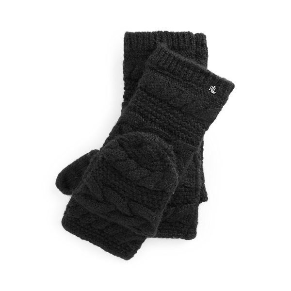 폴로 랄프로렌 장갑 Polo Ralph Lauren Pop-Top Wool-Blend Gloves,Black