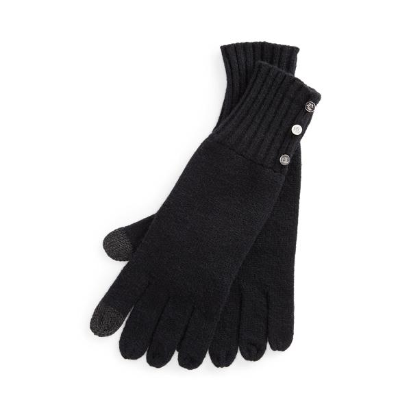 로렌 랄프로렌 버튼 장식 테크 장갑 - 블랙 (스마트폰 터치 가능) Polo Ralph Lauren Button-Trim Tech Gloves