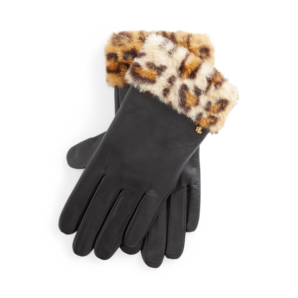 폴로 랄프로렌 에코퍼 장갑 Polo Ralph Lauren Leopard Faux-Fur Gloves,Leopard/Black