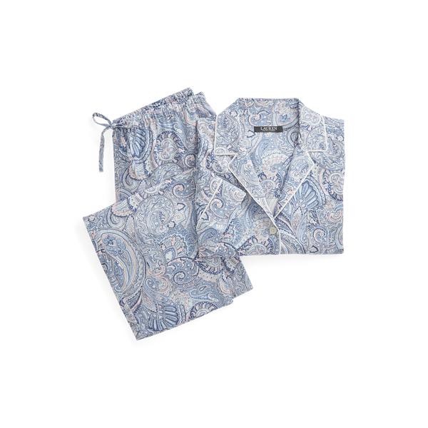 로렌 랄프로렌 파자마 세트 Lauren Print Cotton Blend Sleep Set,Blue Paisley