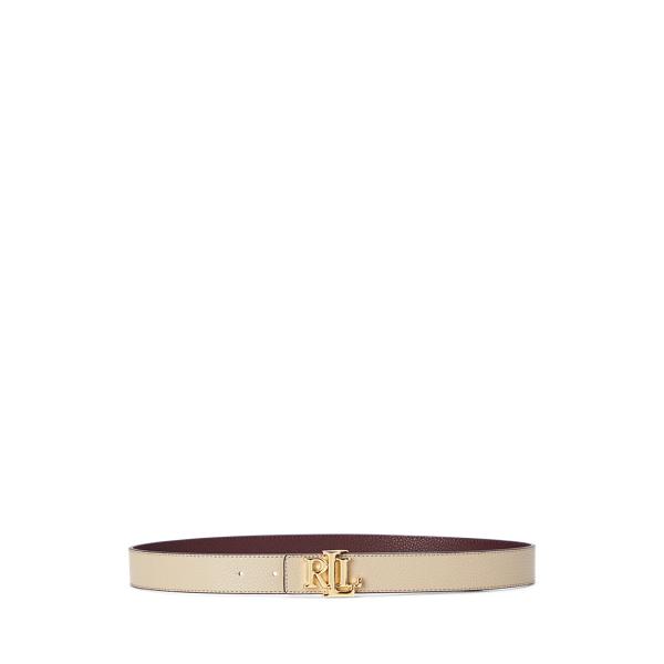 폴로 랄프로렌 Polo Ralph Lauren Reversible Logo Leather Belt,Farro/Bordeaux
