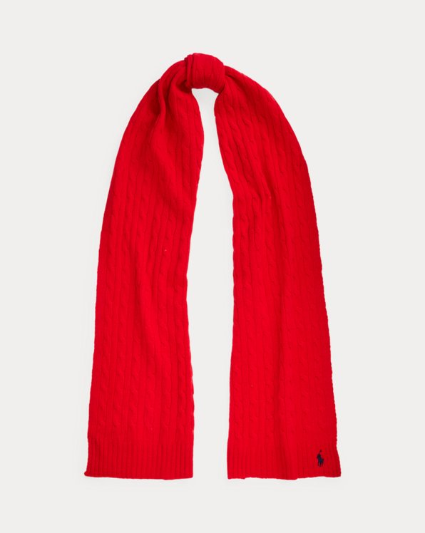 Polo Ralph Lauren Cable-Knit Wool-Cashmere Scarf