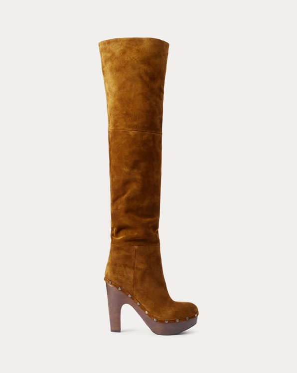 Calf-Suede Clog Knee Boot