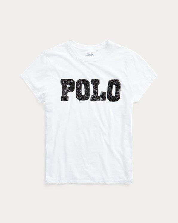 Baumwoll-T-Shirt mit Perlenlogo