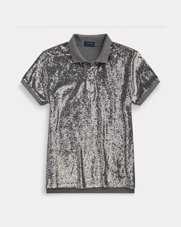 Sequined Mesh Polo Shirt
