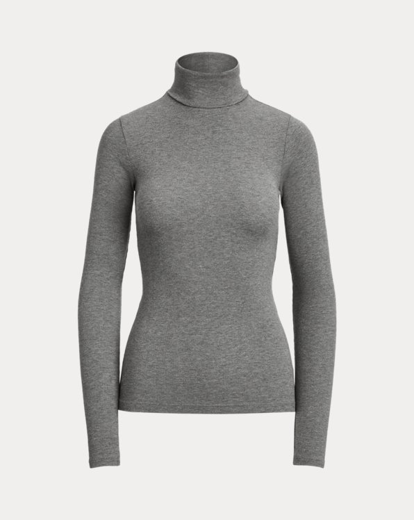 Stretch Ribbed Roll Neck