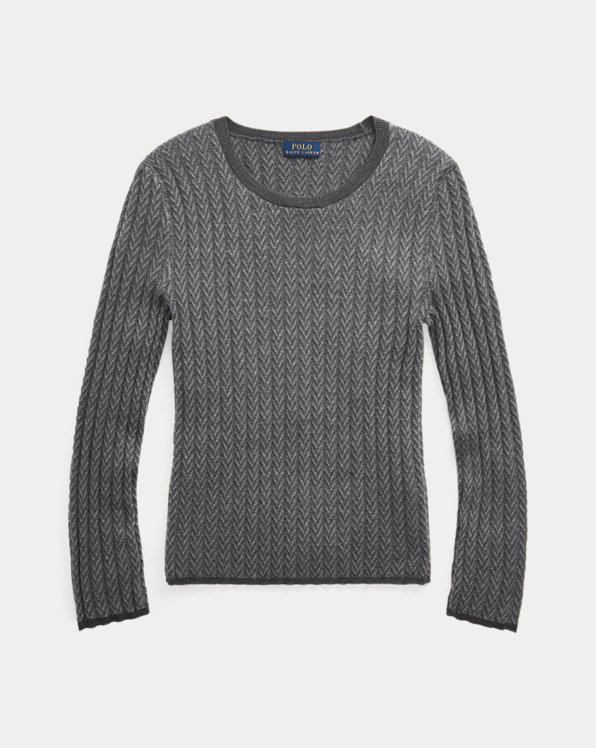 Ribbed Wool Herringbone Sweater