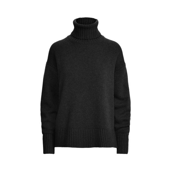 폴로 랄프로렌 우먼 울 터틀넥 스웨터 Polo Ralph Lauren Wool Blend Turtleneck Sweater,Polo Black