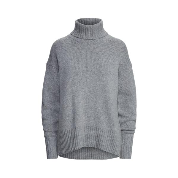 폴로 랄프로렌 우먼 울 터틀넥 스웨터 Polo Ralph Lauren Wool Blend Turtleneck Sweater,Brume Heather