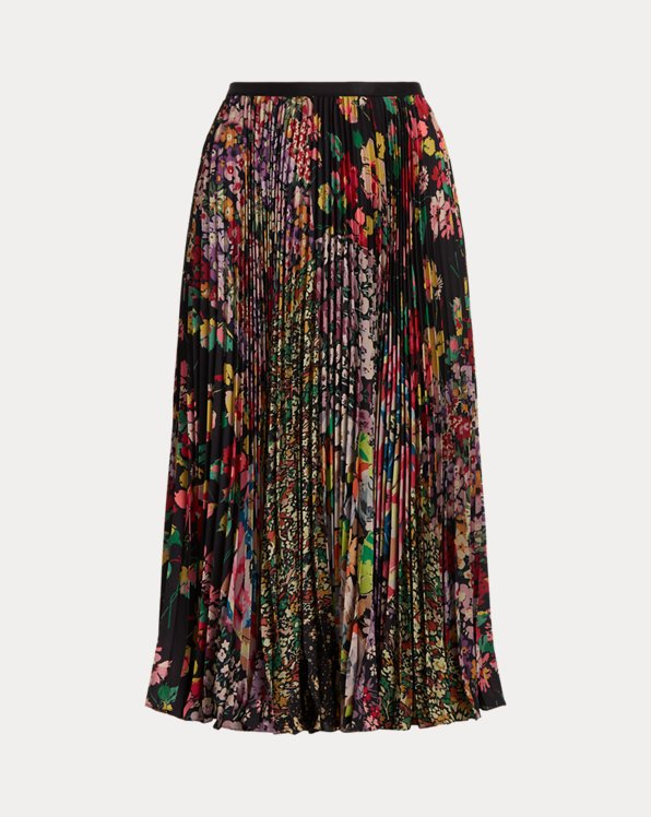 Floral Patchwork Pleated Skirt