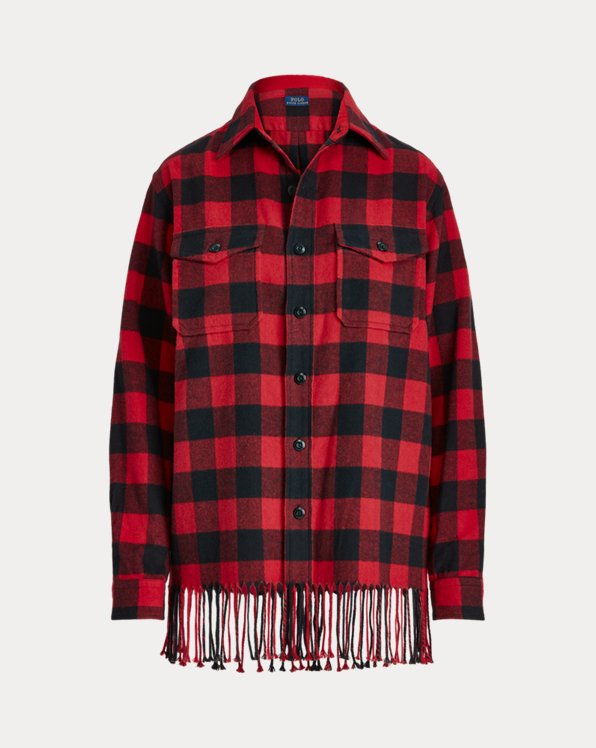 Fringe-Trim Plaid Shirt
