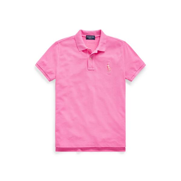 폴로 랄프로렌 Polo Ralph Lauren Pink Pony Cotton Mesh Polo Shirt,Baja Pink